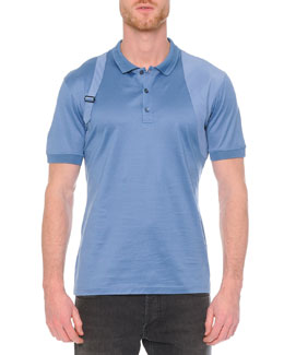 Pique-Knit Harness Polo Shirt, Blue