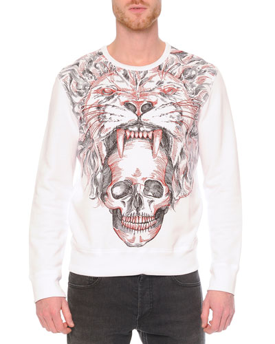 Lion & Skull-Printed Crewneck Sweatshirt, White