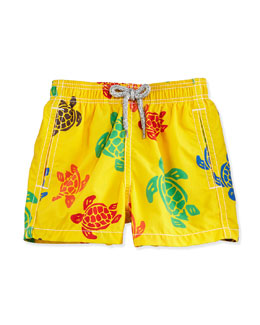 Turtle-Print Swim Trunks, Yellow/Multicolor, Size 2-6