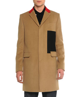 Color Block Wool Topcoat, Camel