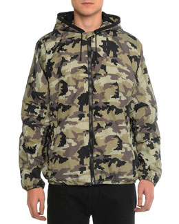 Nylon Camo-Print Hooded Jacket, Khaki