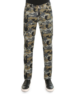 Camo-Printed Denim Pants, Khaki