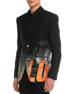 Digital Print Love Blazer, Black