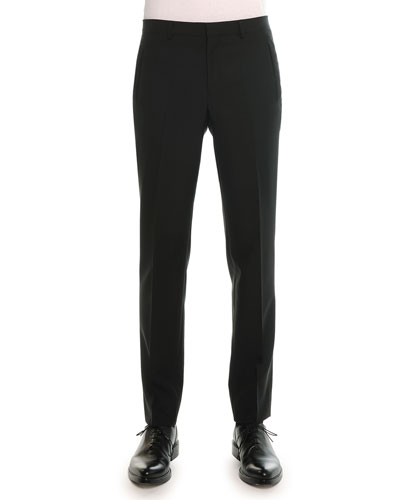 Madonna Flat-Front Trousers, Black