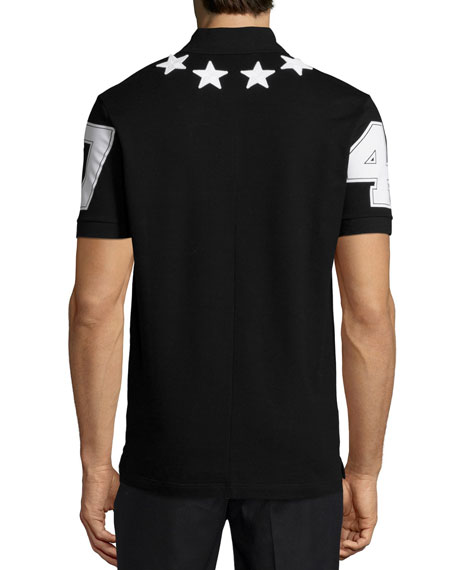 Star-Print Knit Polo Shirt, Black