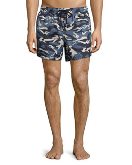 Camo Print Swim Trunks, Blue/Gray