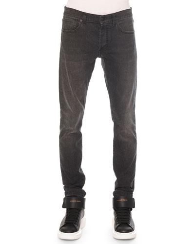 Faded-Wash Stretch Denim Jeans, Black