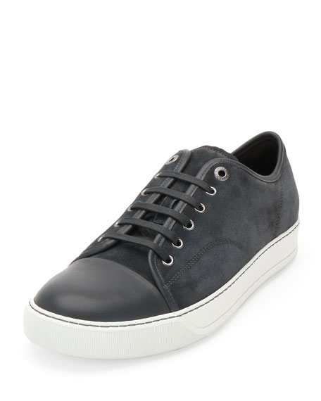 Matte Cap-Toe Low-Top Sneaker, Gray