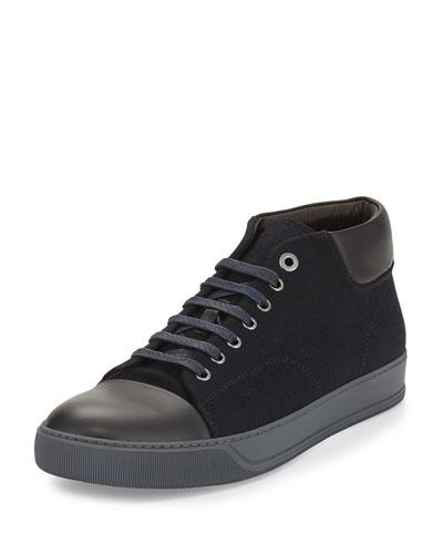 Flannel Low-Top Sneaker, Navy