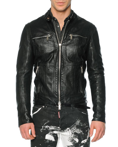 Pebbled Leather Moto-Style Jacket