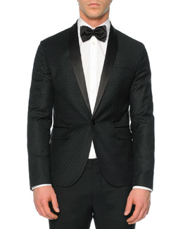 Beverly-Fit Pindot Tuxedo Jacket, Black