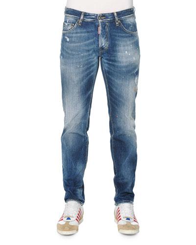 Slim-Fit Distressed Jeans, Light Wash