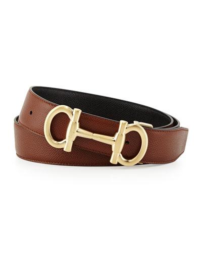 Parigi Reversible Leather Belt, Brown/Black