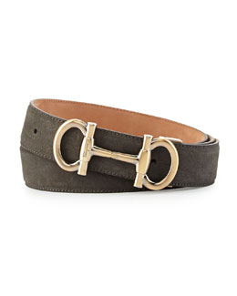 Parigi Double-Gancini Suede Belt, Gray
