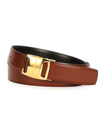 Gold Vara Reversible Buckle Belt, Brown/Black