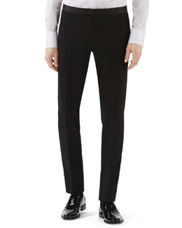 Black Skinny Tux Pants w/ Satin Waist