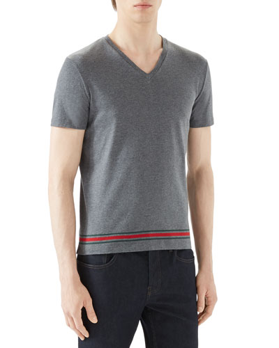 Grey V-Neck T-Shirt w/ Wide Hem
