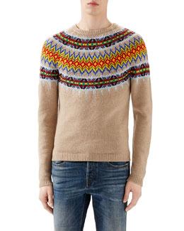 Camel Multi Jacquard Crewneck Sweater