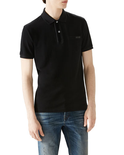 Black Short-Sleeve Pique Logo Polo w/ Leather Trim