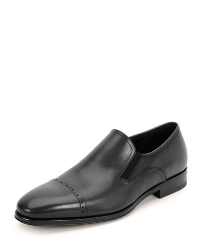 Mira Cap-Toe Calf Leather Loafer, Black