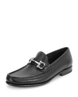 Mason Gancini-Bit Leather Loafer, Black