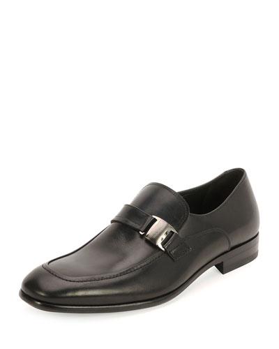 Mattia Side-Buckle Loafer, Black