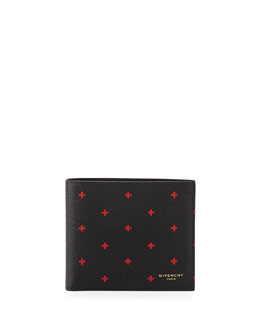 Cross-Print Leather Pouch, Black/Red