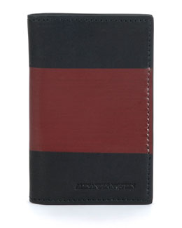 Two-Tone Leather Pocket Organizer, Black/Red