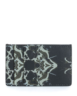 Abstract-Print Leather Card Case, Black/Beige