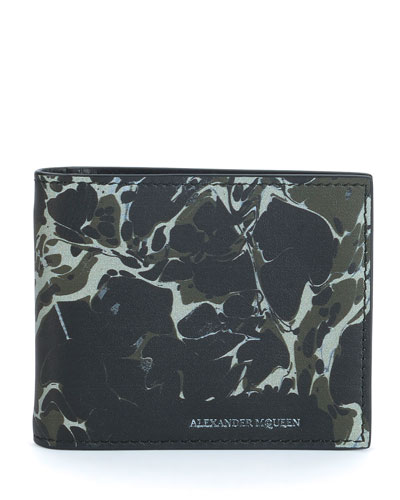 Abstract-Print Leather Bi-Fold Wallet, Black/Beige