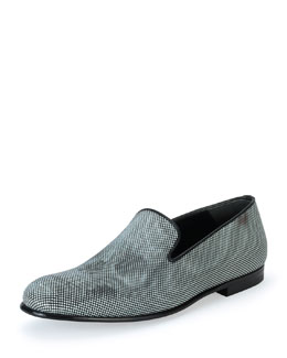 Faded Skull-Print Slip-On Loafer, Black/White