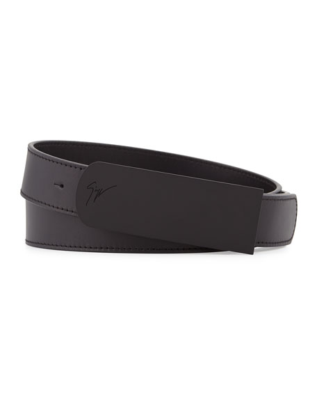 Giuseppe Zanotti Leather Matte Buckle Belt, Black
