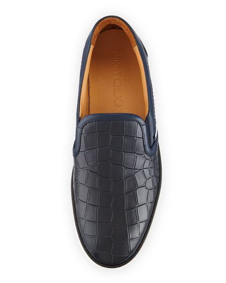 Men's Croc-Embossed Leather Skate Sneaker, Navy