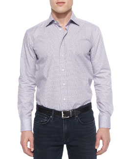 Geo-Print Long-Sleeve Sport Shirt, White/Purple