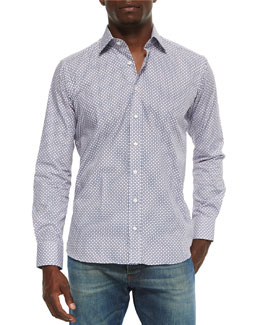 Small Geo-Diamond Print Sport Shirt, Multi