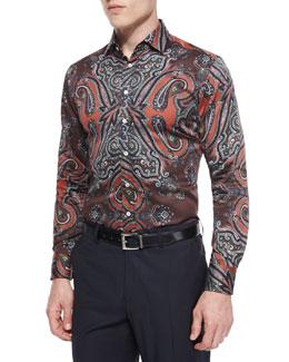 Paisley-Print Woven Sport Shirt, Multi