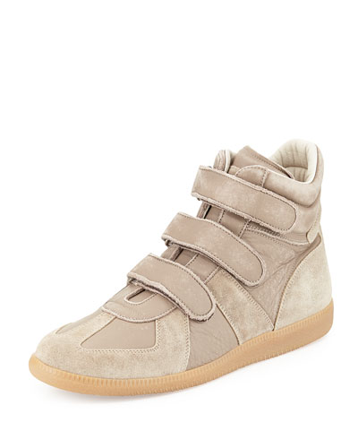 Leather Grip-Strap High-Top Sneaker, Light Brown