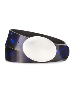 Oval Brushstroke Leather Belt, Blue