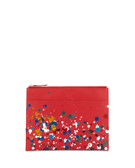 Paint-Splatter Document Pouch, Red