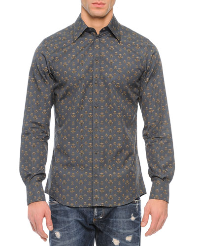 Bee-Print Long-Sleeve Shirt, Green/Gold