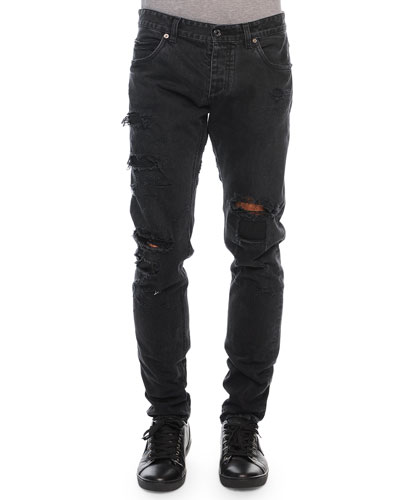 Destroyed Denim Jeans, Black