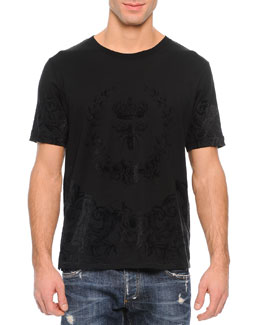 Tonal Flocked Crown/Bee Graphic Tee, Black