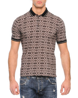 Allover Crown Print Polo Shirt, Gray