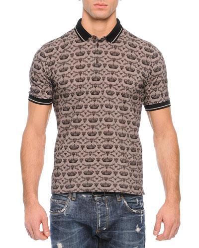 Allover Crown Print Polo Shirt, Gray
