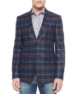 Multi-Plaid Two-Button Blazer, Blue/Green
