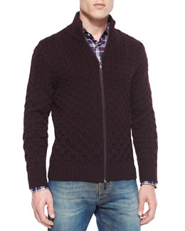 Wool Cable-Knit Full-Zip Cardigan, Burgundy