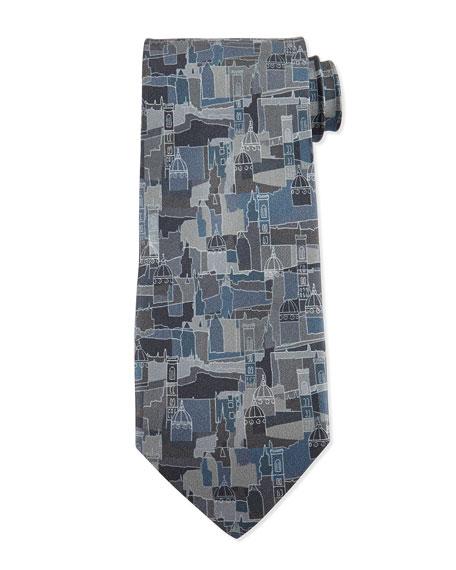 Salvatore Ferragamo Florence Printed Silk Tie, Gray