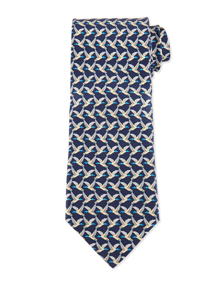 Salvatore Ferragamo Birds Flying-Print Silk Tie, Blue
