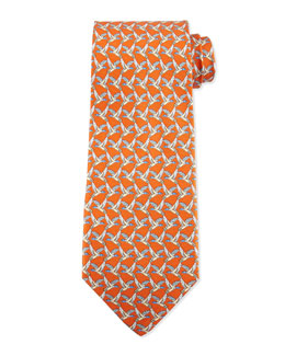 Birds Flying-Print Silk Tie, Orange