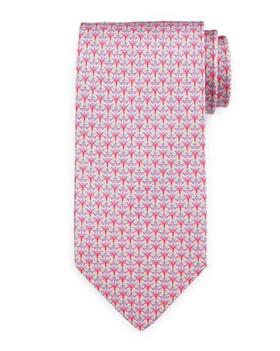 Butterfly-Print Silk Tie, Pink